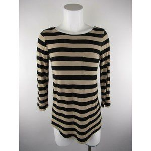 Cable & Gauge S Black Striped Pocket 3/4 Tunic Top